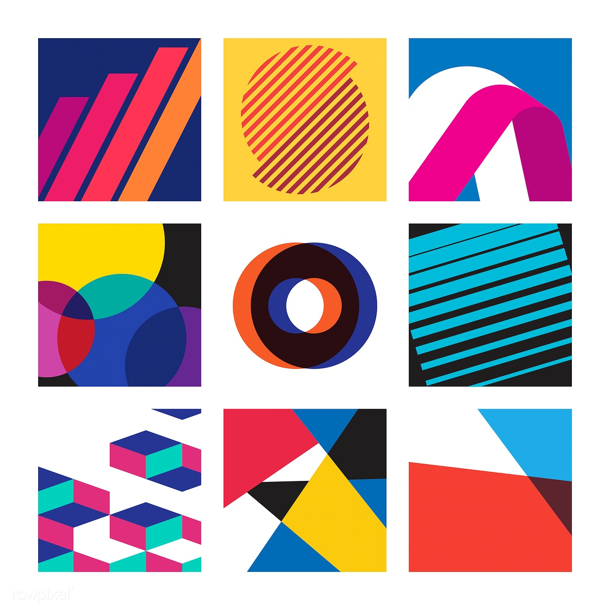 Multicolored Swiss graphic illustration set | Free stock