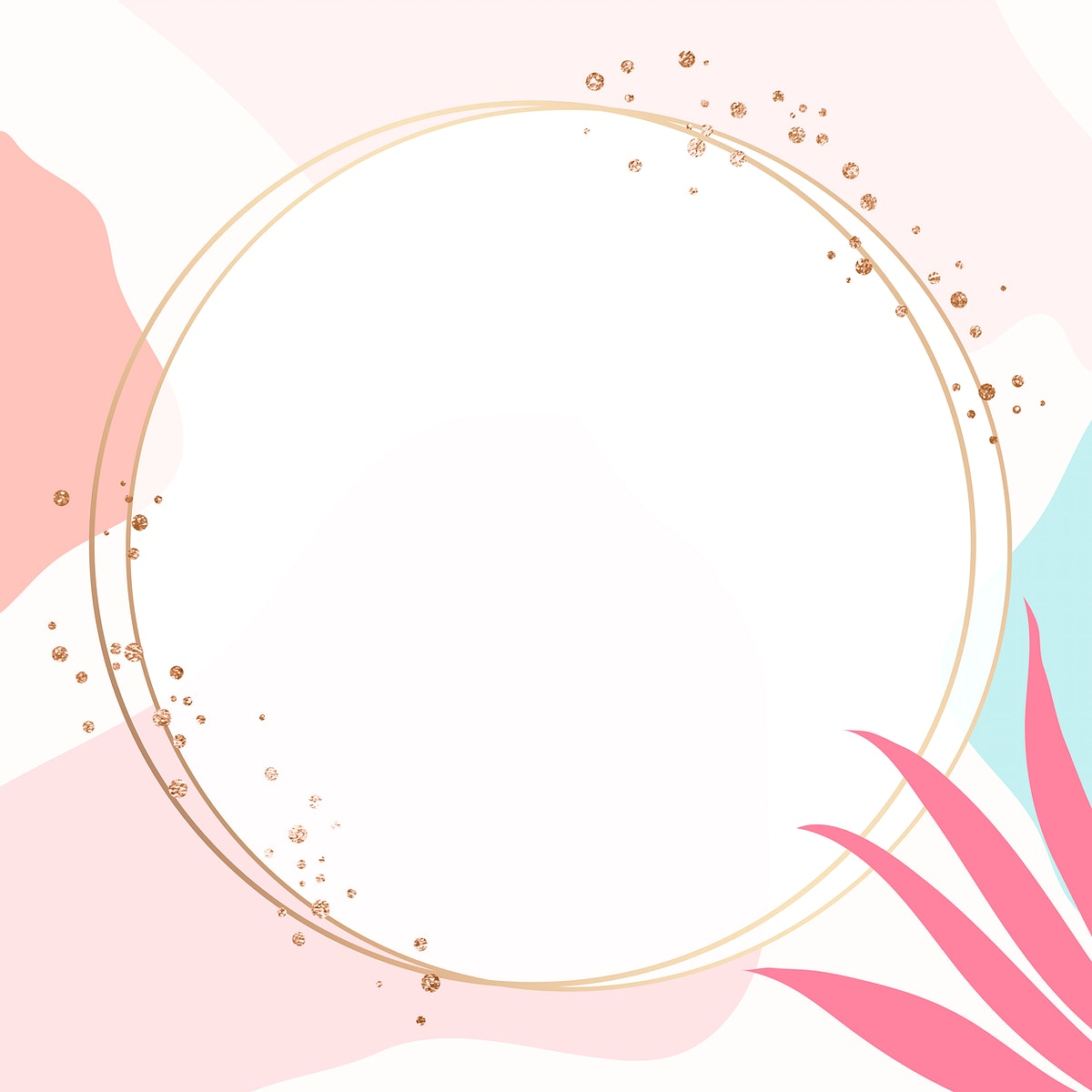 Round gold frame on colorful Memphis pattern background vector