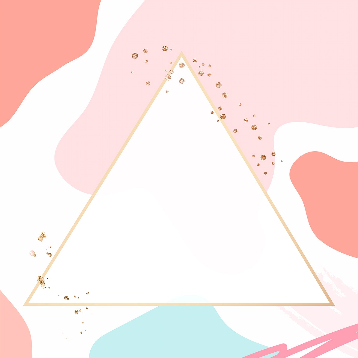 Triangle gold frame on colorful Memphis pattern background vector