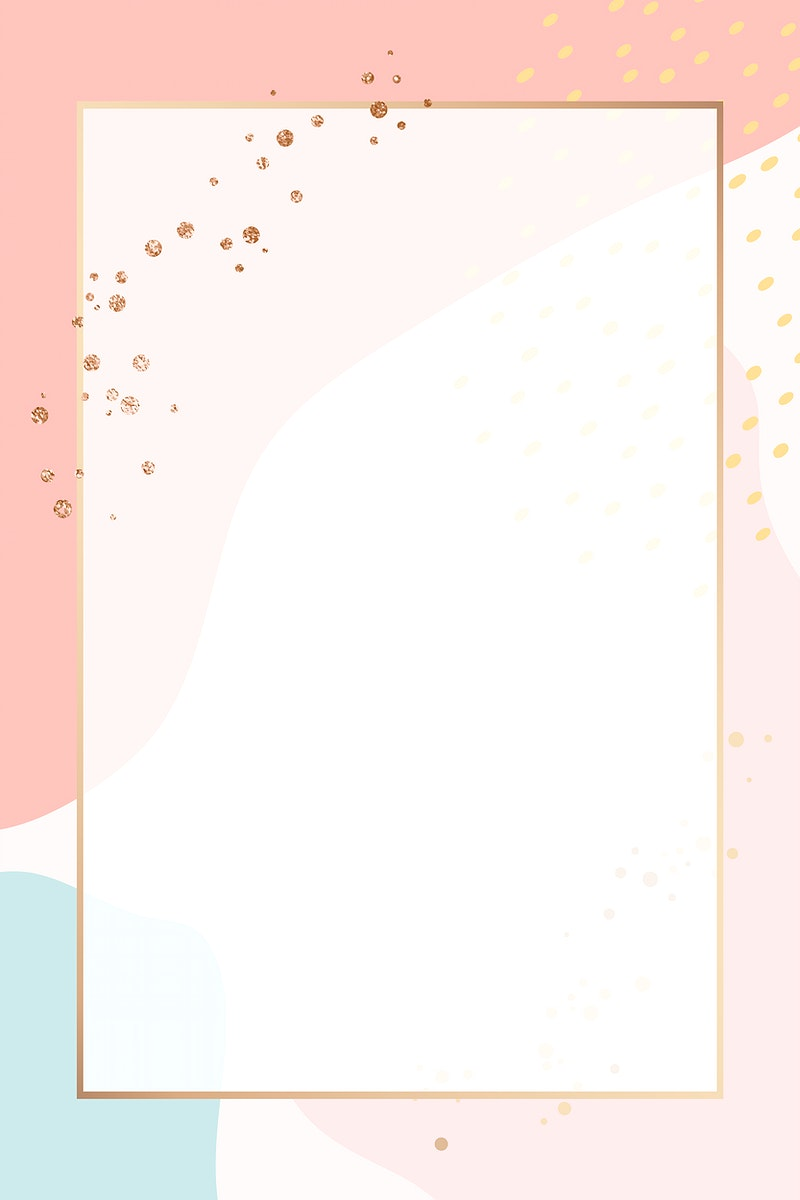 Rectangle gold frame on colorful Memphis pattern background vector