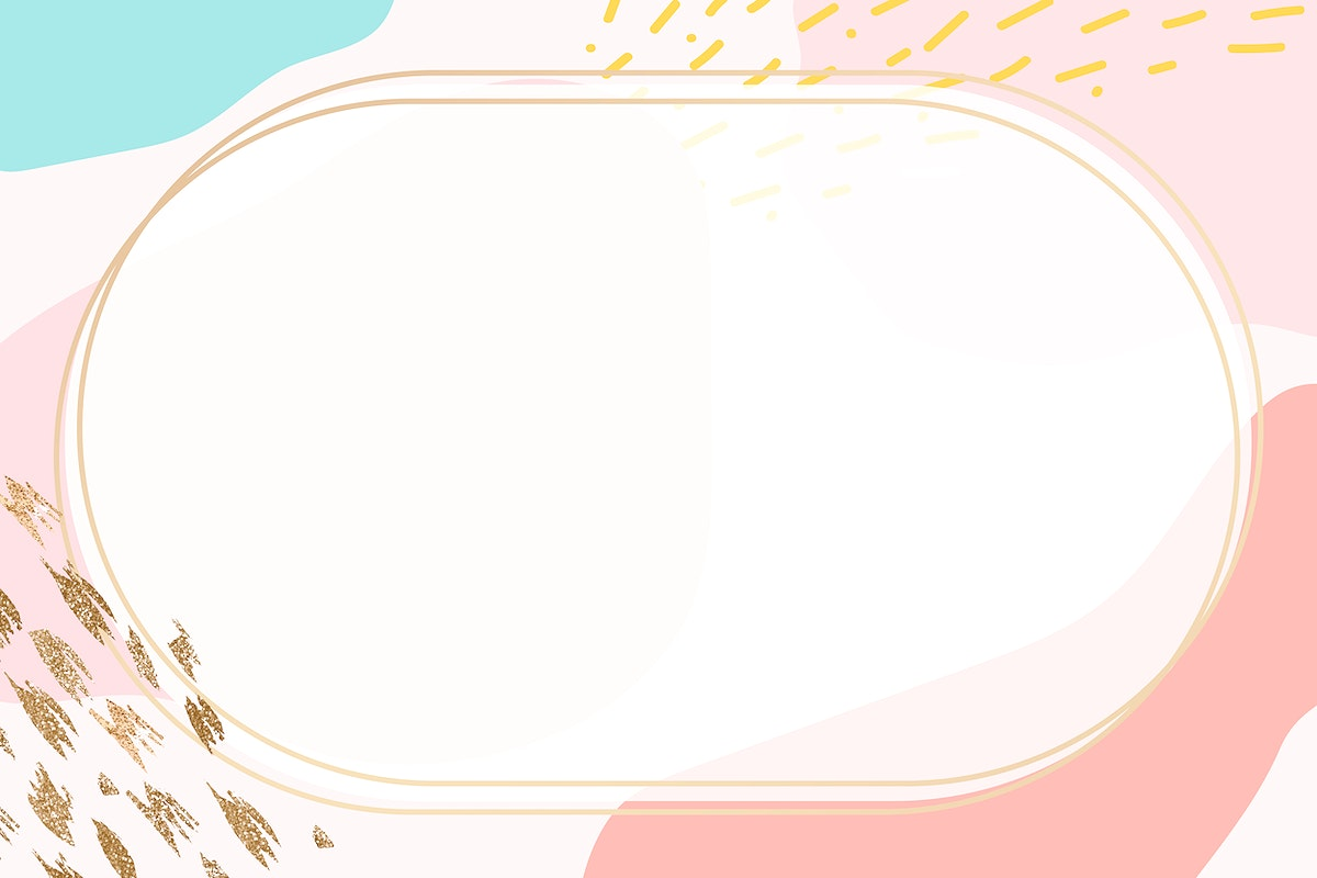 Oval gold frame on colorful Memphis pattern background vector
