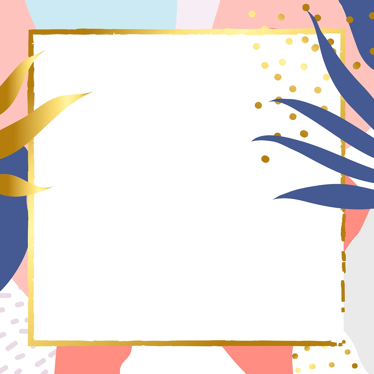 Square gold frame on colorful Memphis pattern background vector