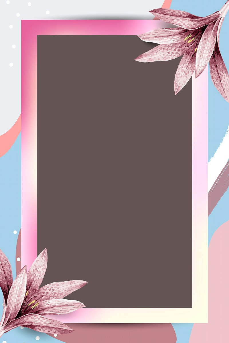Colorful rectangle leafy Memphis frame vector