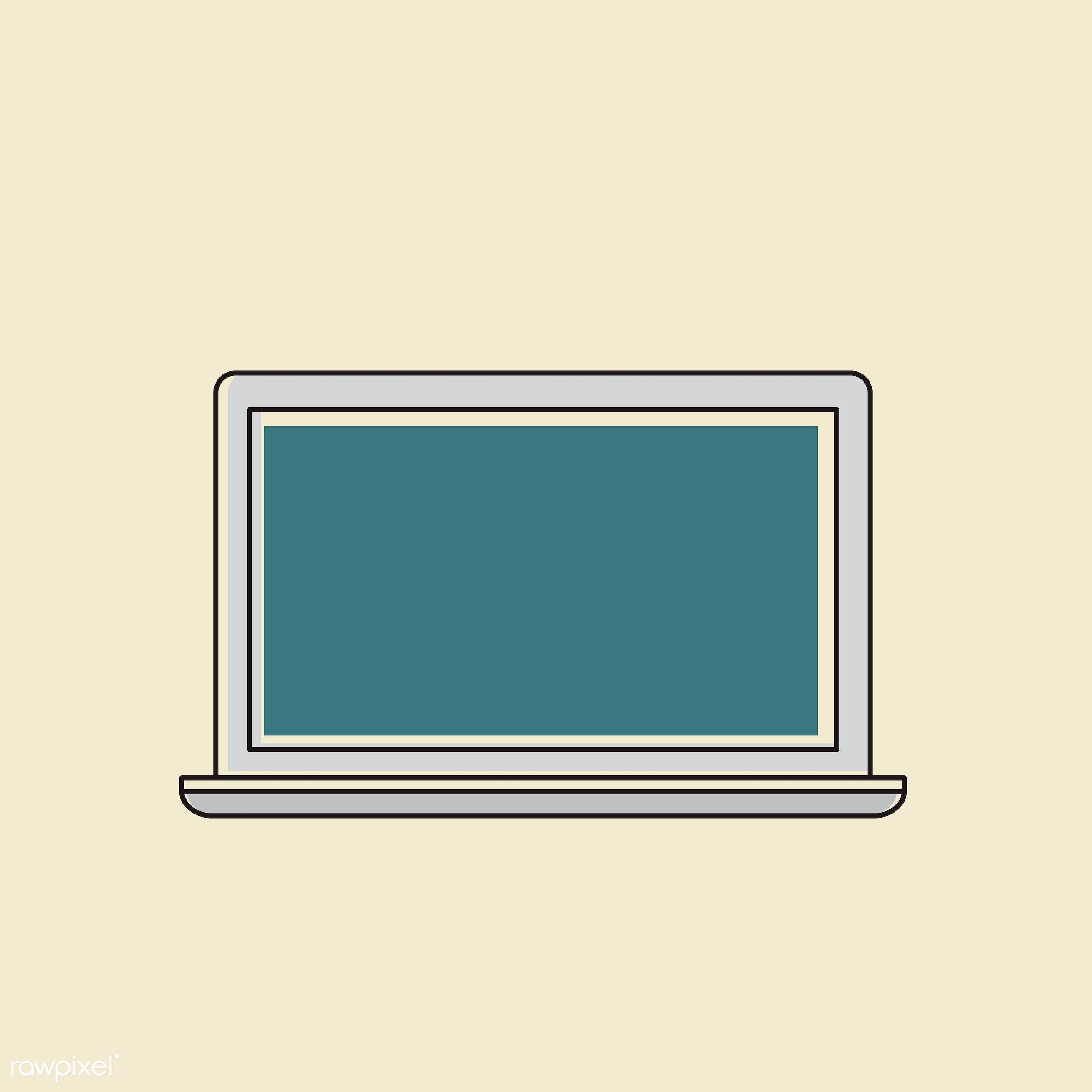 Vector of computer digital device - computer, design, digital, equipment, graphic, icon, illustration, laptop, monitor,...