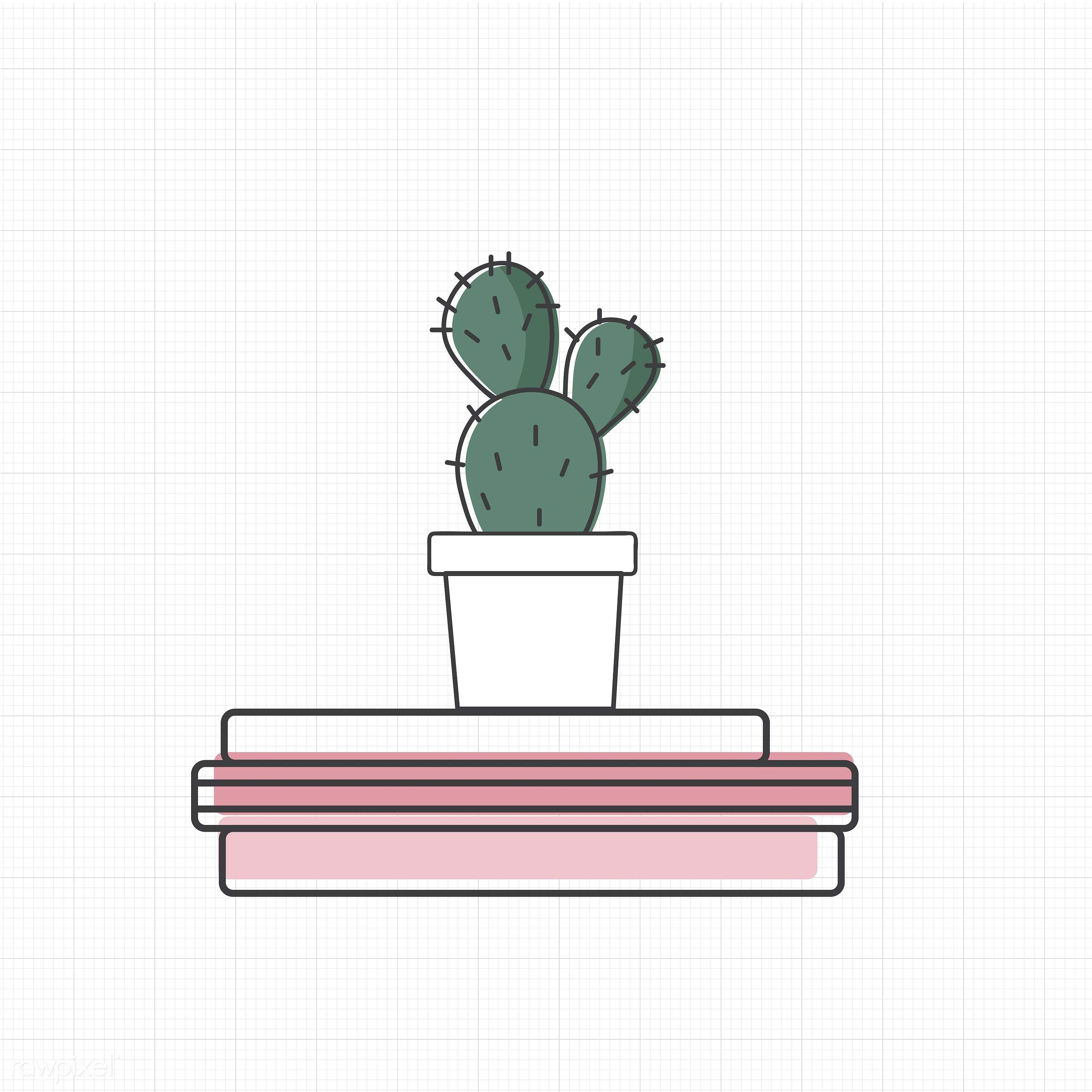 Vector of cactus on books - book, cactus, decoration, design, emblem, graphic, houseplant, icon, illustration, pot, sign,...
