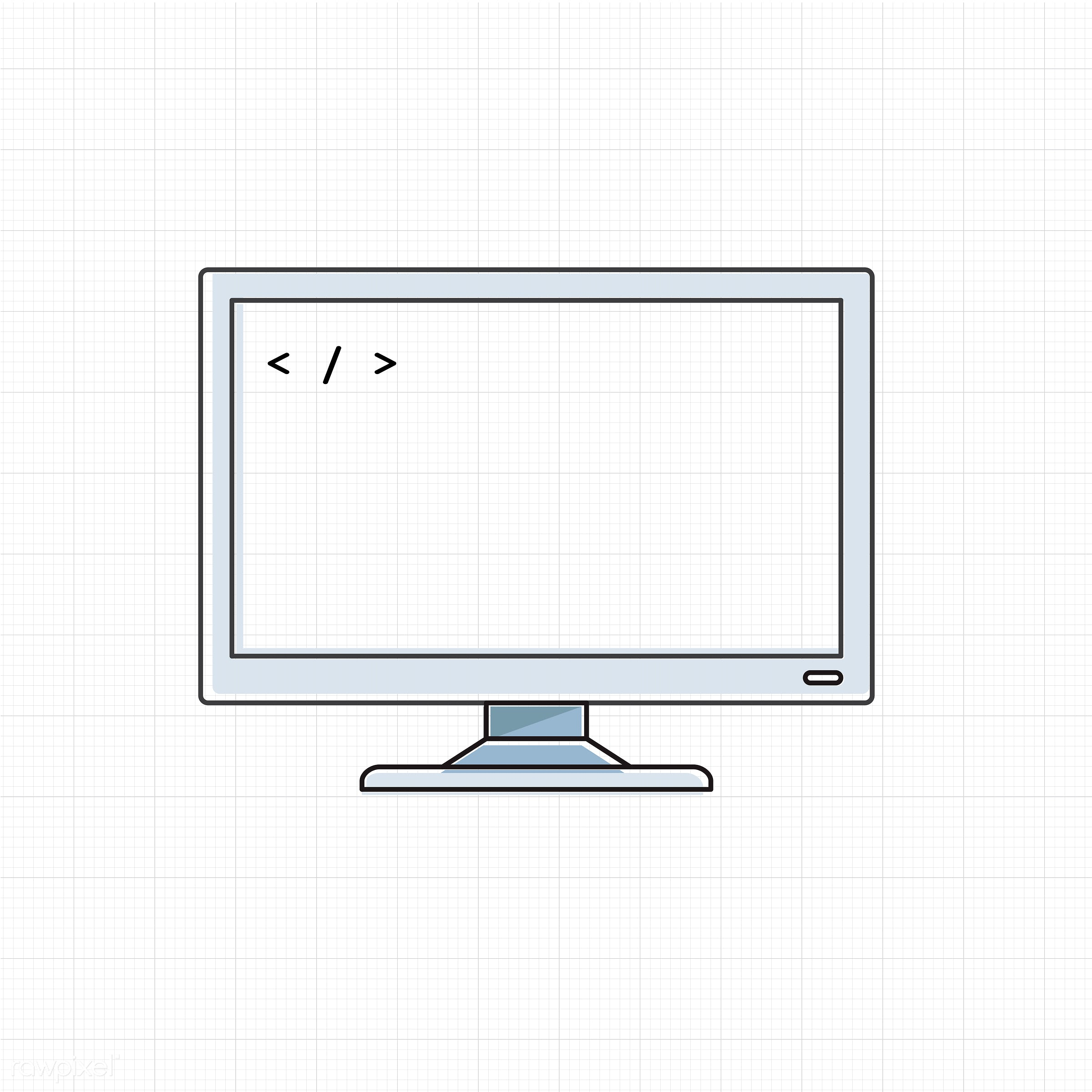 Vector of computer digital device - computer, desktop, digital, electronic, graphic, icon, illustration, monitor, objects,...