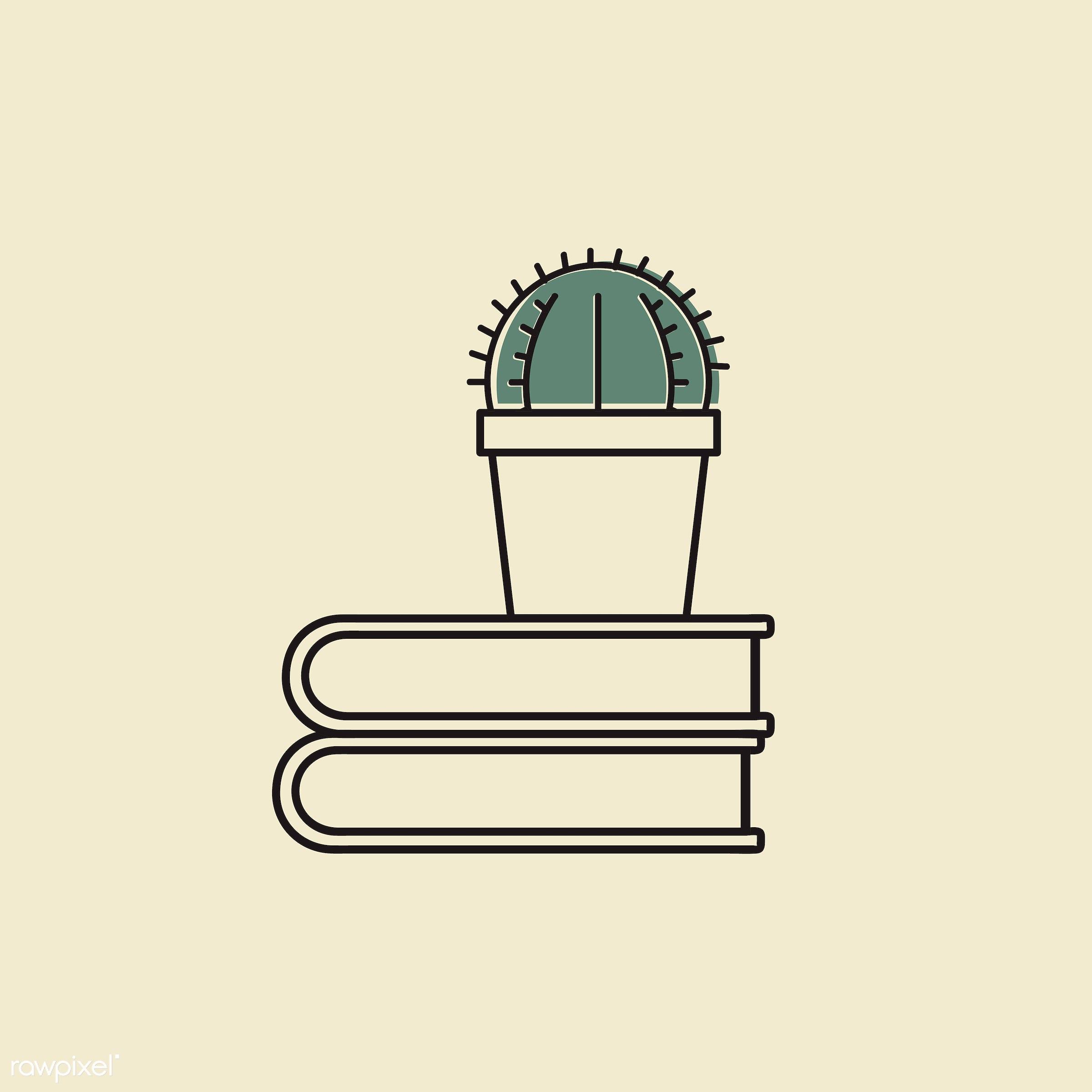 Vector of cactus on books - book, cactus, decoration, design, emblem, graphic, houseplant, icon, illustration, pot, sign,...