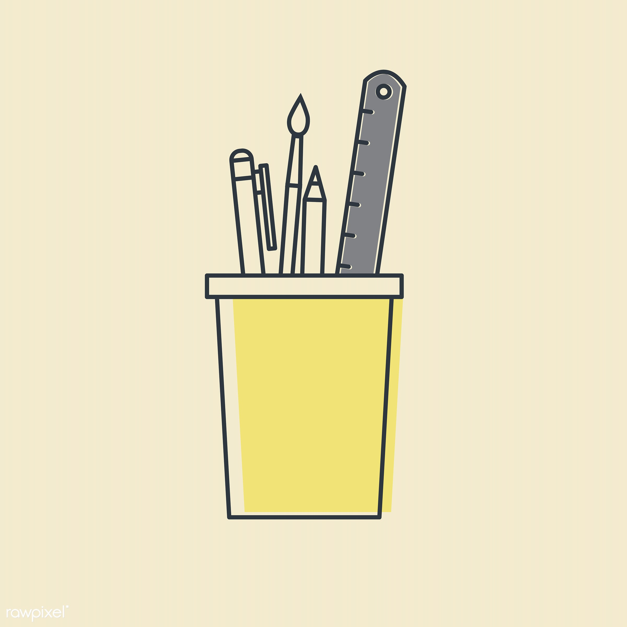 Vector of office supply icon - design, graphic, icon, illustration, office supplies, pen, pencil, ruler, sign, stationery,...