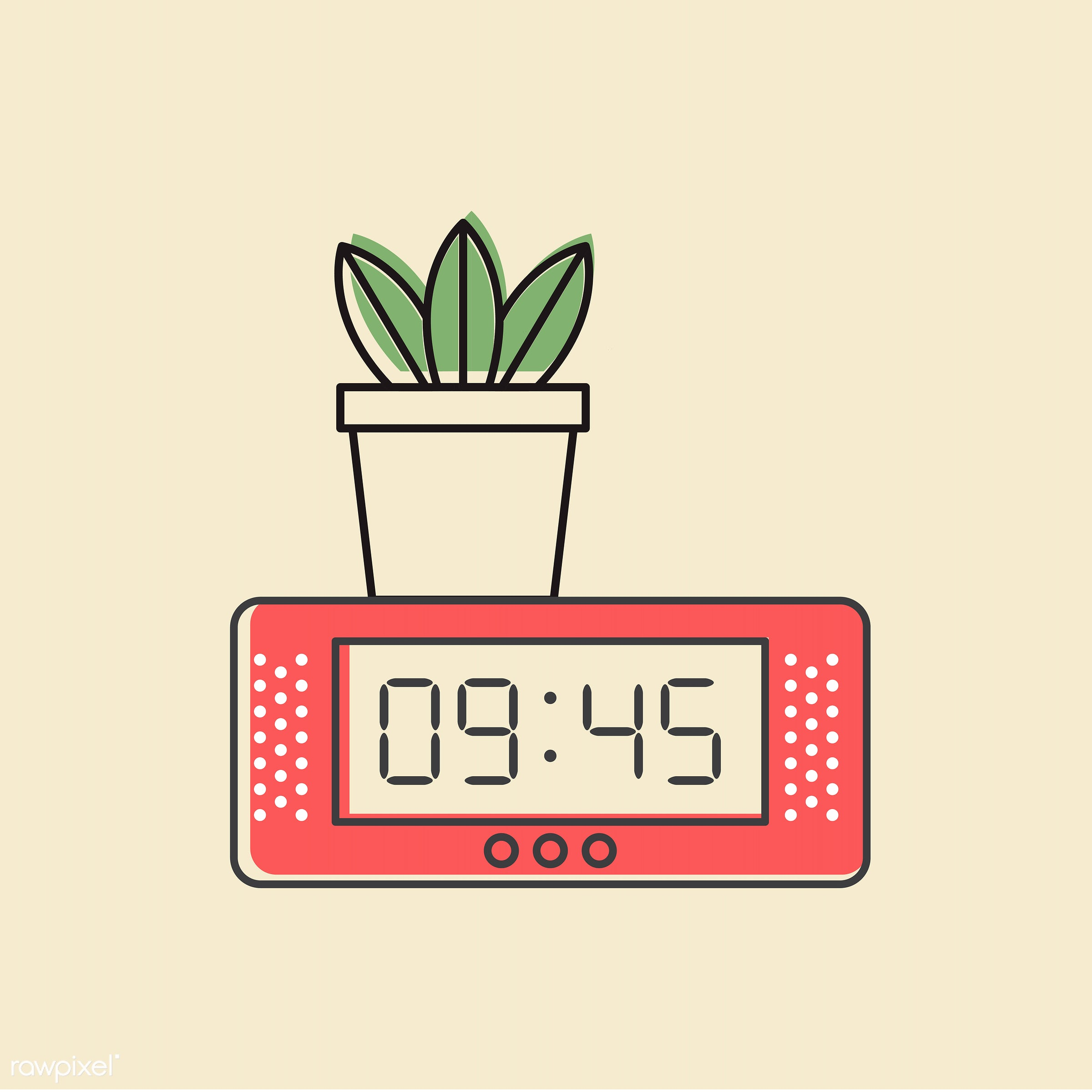 Vector of digital clock icon - alarm, clock, design, digit, element, graphic, icon, illustration, object, symbol, time,...