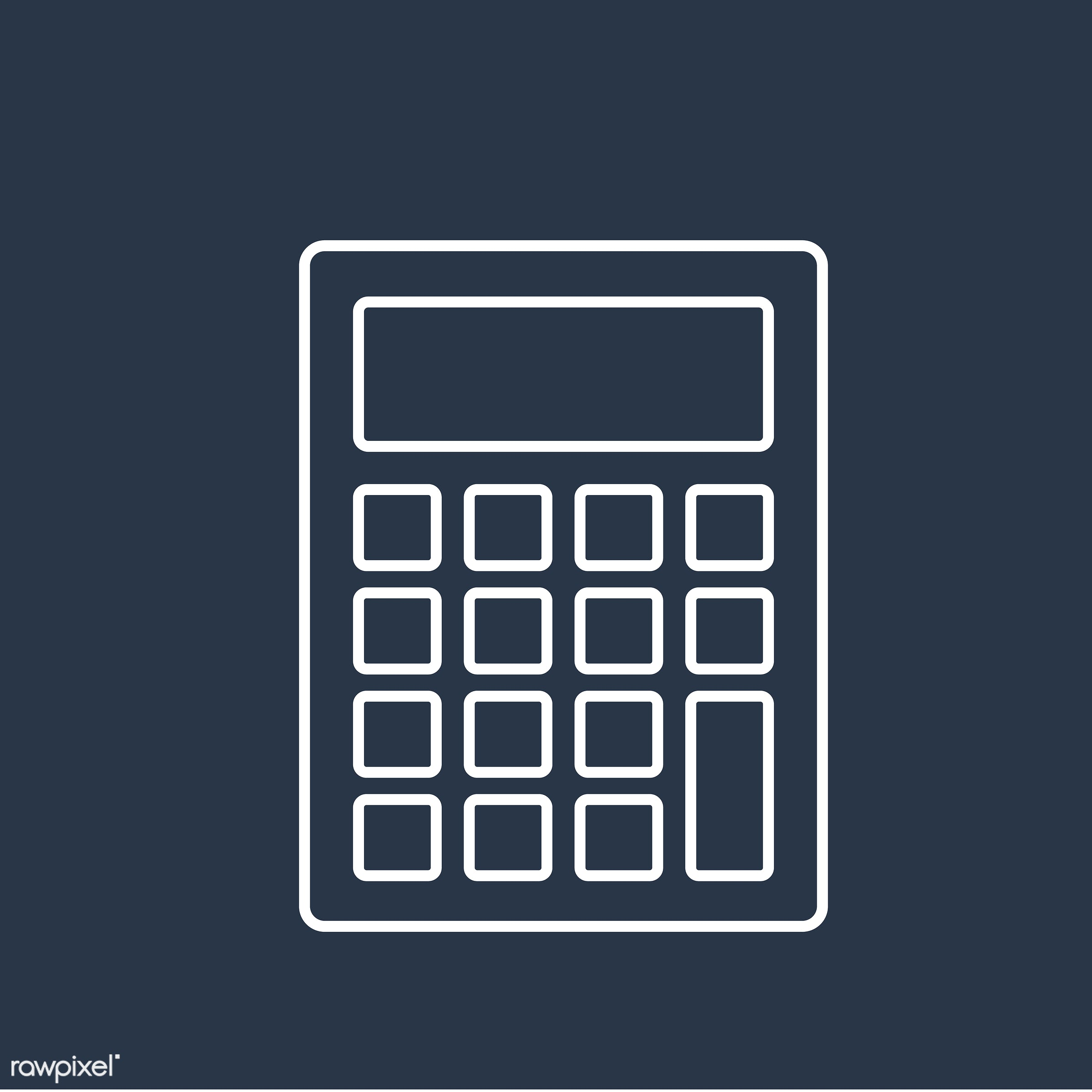 Vector of calculator icon - calculator, equipment, finance, graphic, icon, illustration, mathematics, object, office, vector...