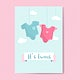 Its twins baby shower invitation card vector