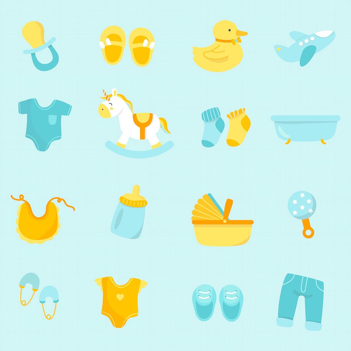 Set of cute baby shower vectors
