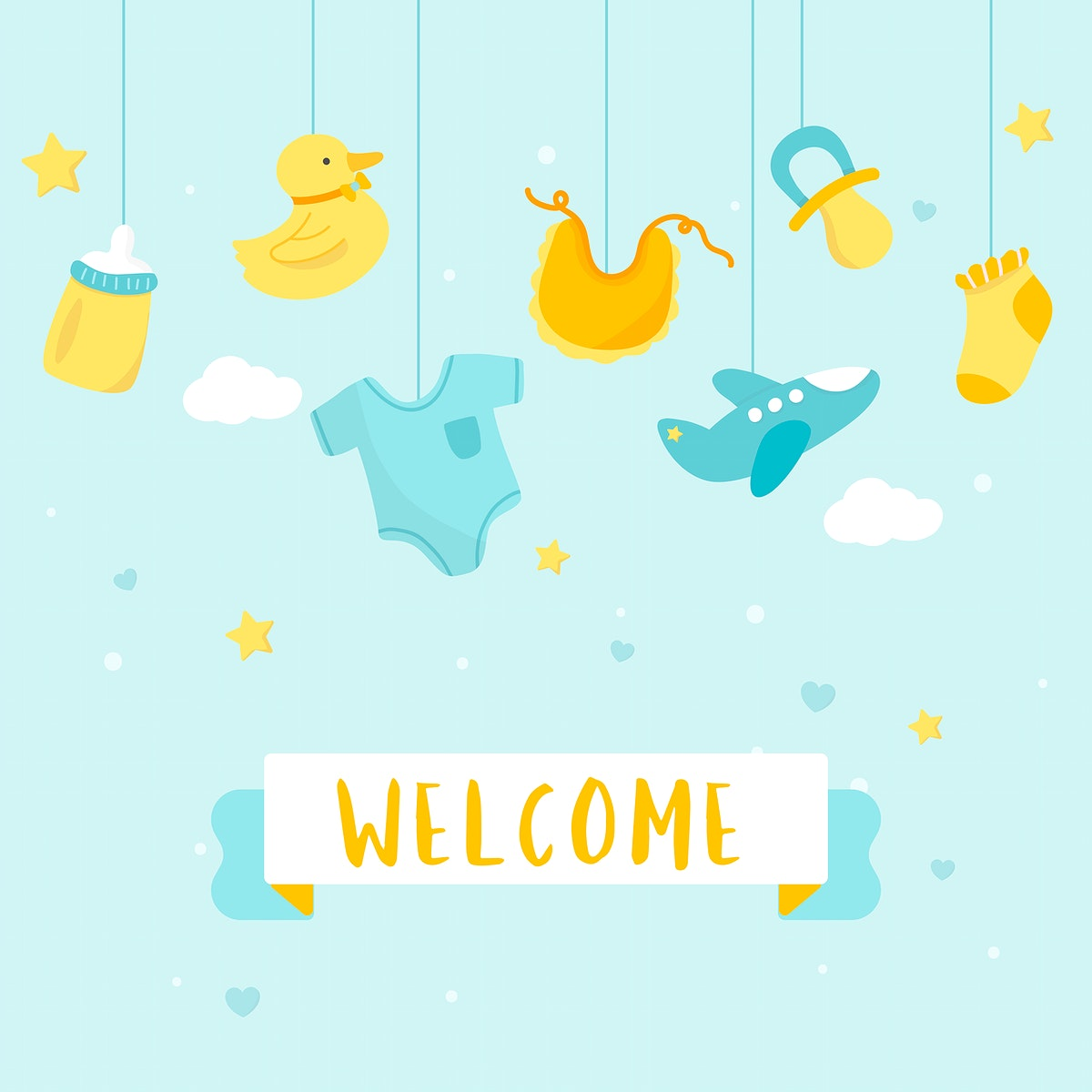 Cute baby nursery decorations with a text welcome vector