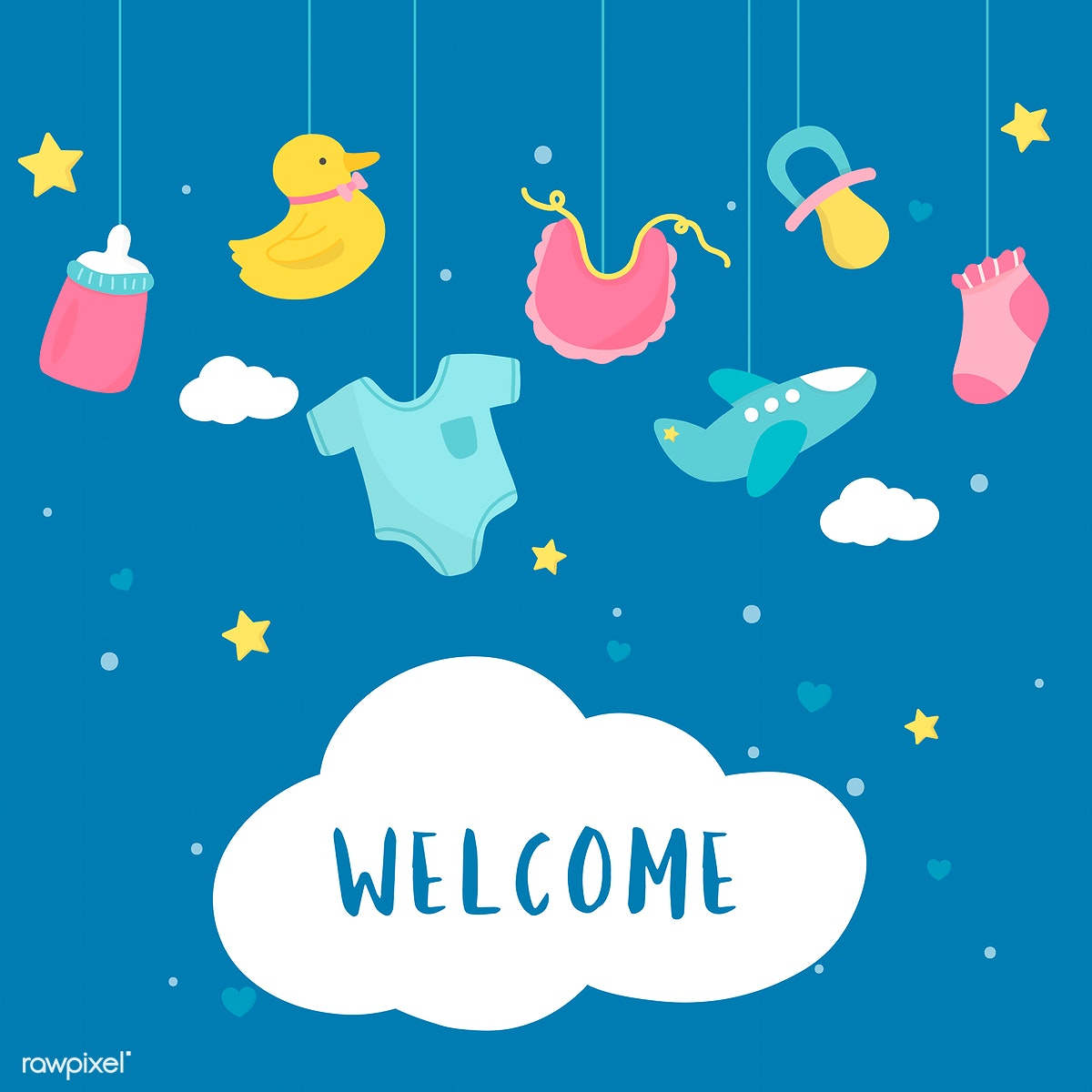 Baby Shower Invitation Card Design Free Stock Illustration