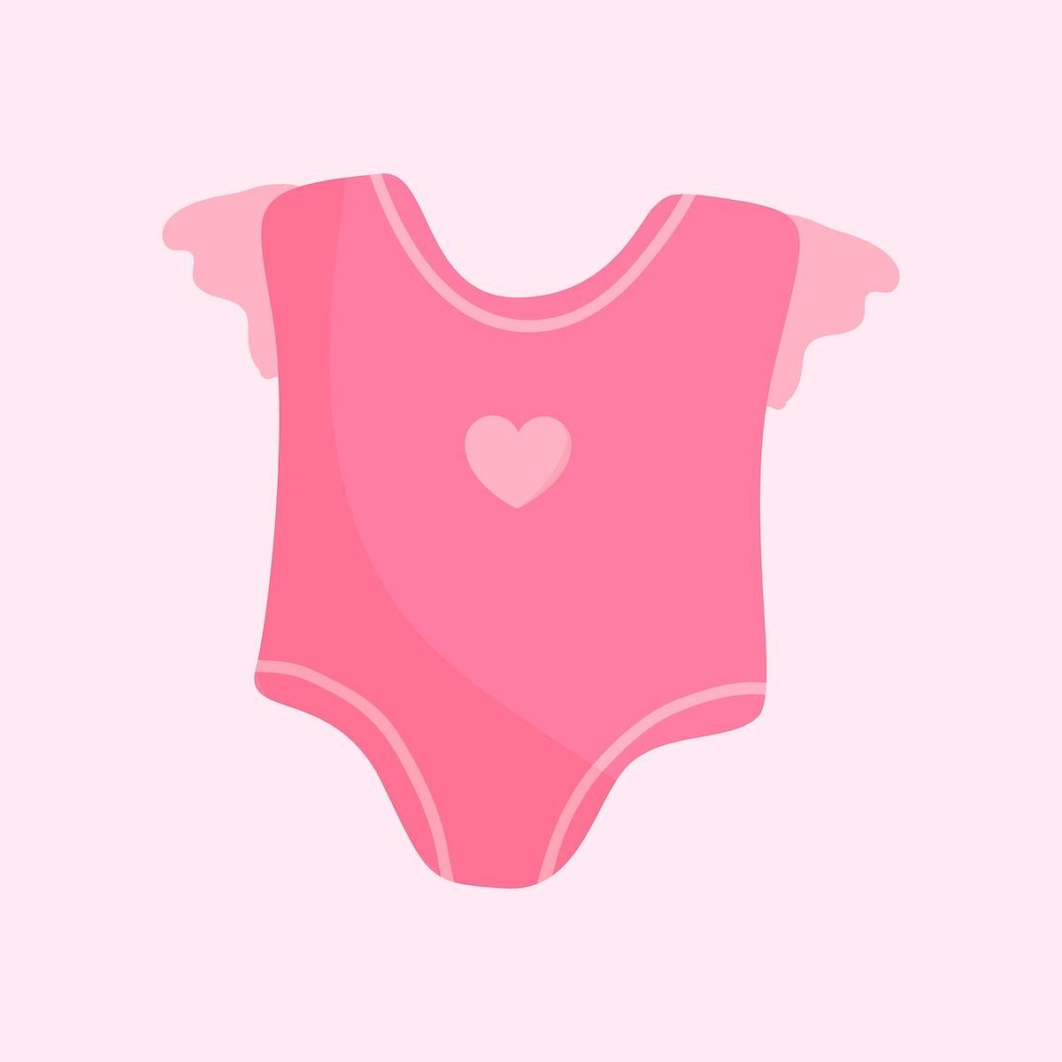 Cute pink baby romper vector