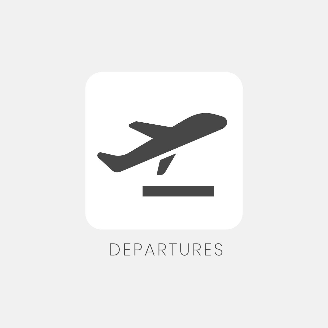 Gray Departures Sign Plane Icon Vector Free Vector 538367