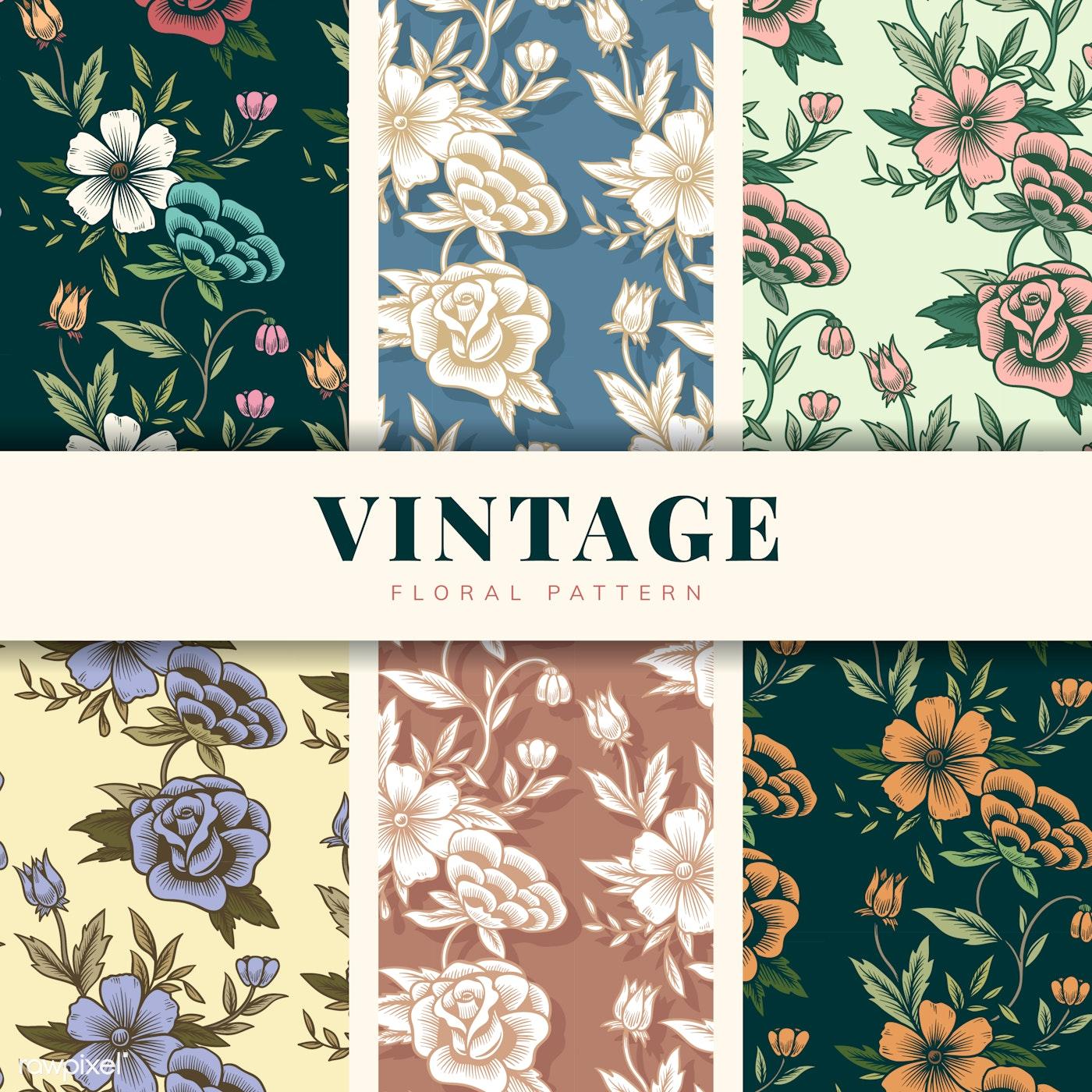 Vintage Floral Pattern Set Free Vector 558201