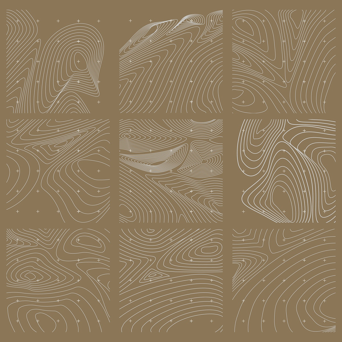 White and gold abstract map contour lines background set
