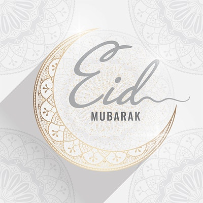 497007d4 Eid Mubarak card with a crescent moon pattern background