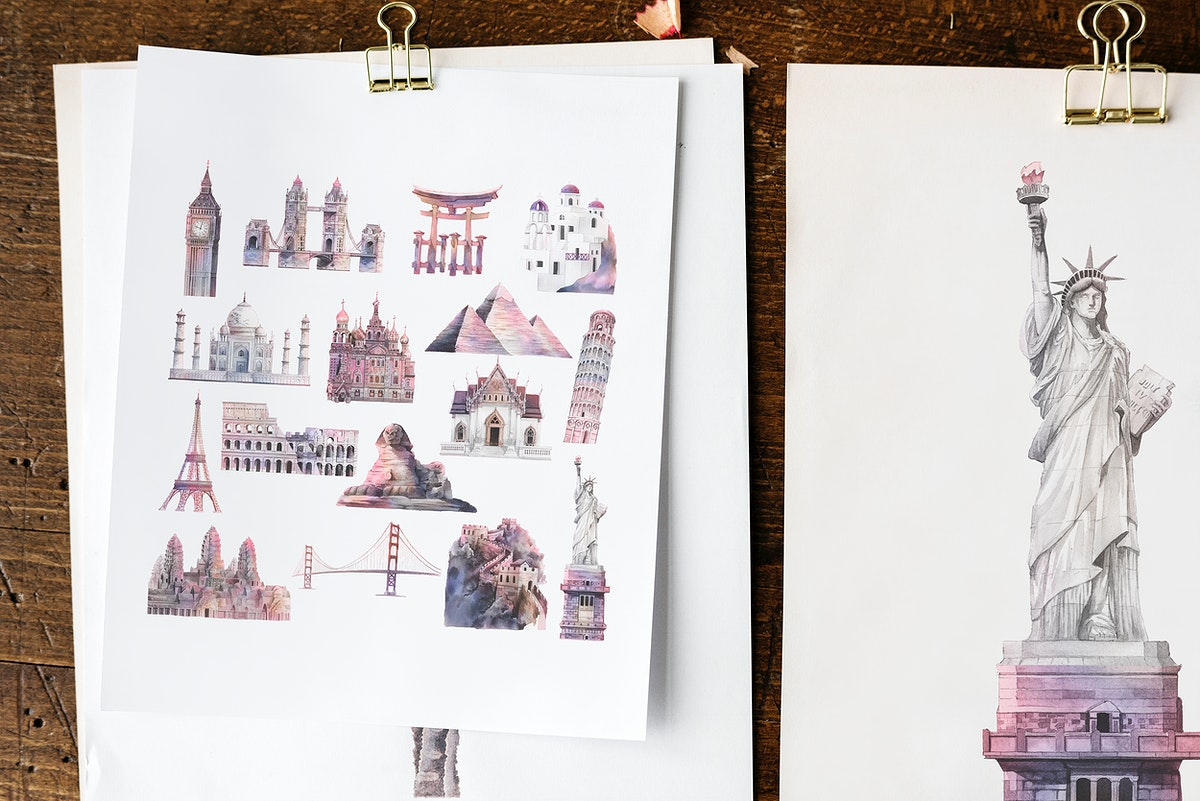 Architectural landmarks on white papers