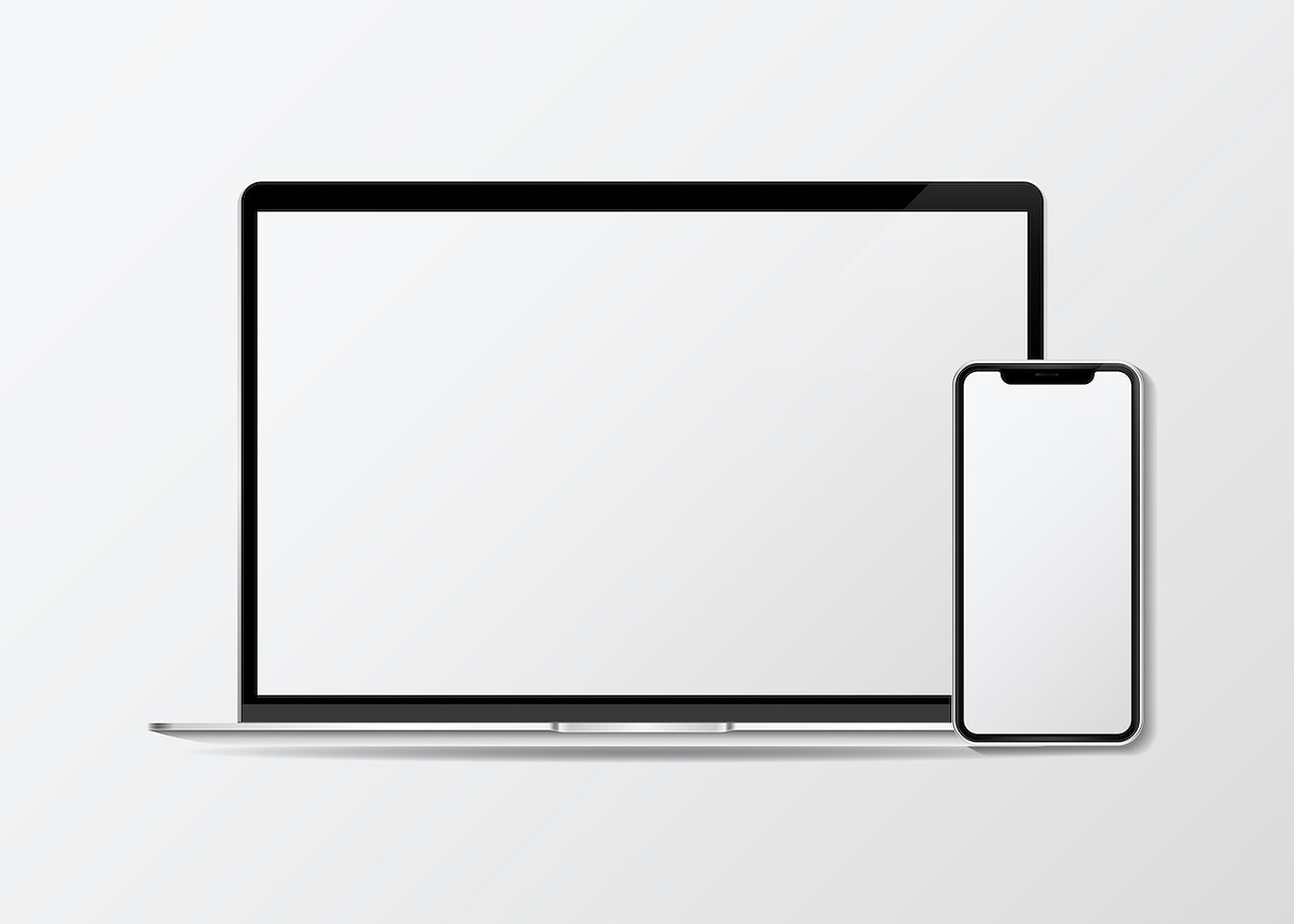Laptop and a mobile phone mockup