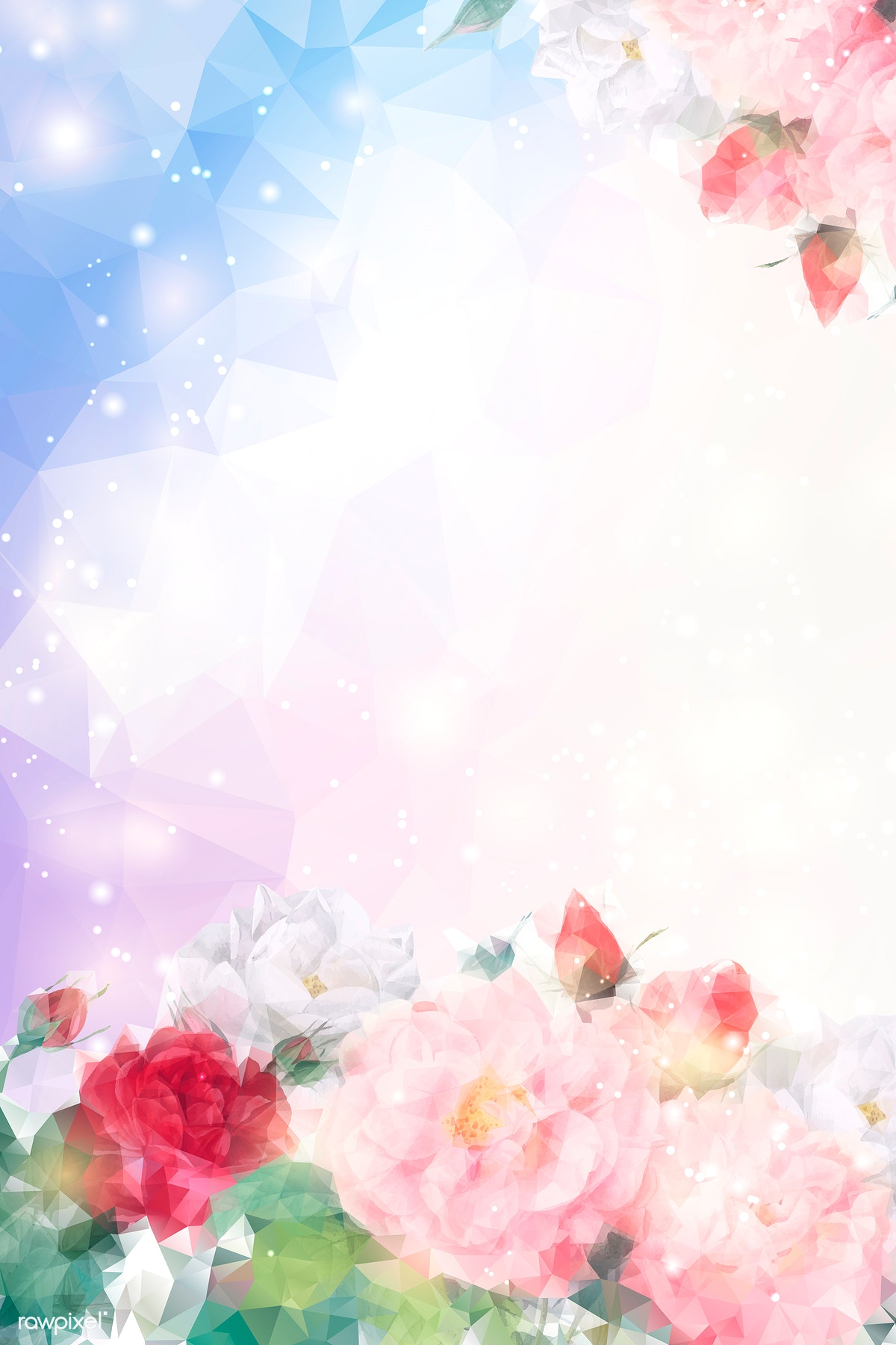 Download Premium Vector Of Flower Blue Background Wallpaper Vector 679936