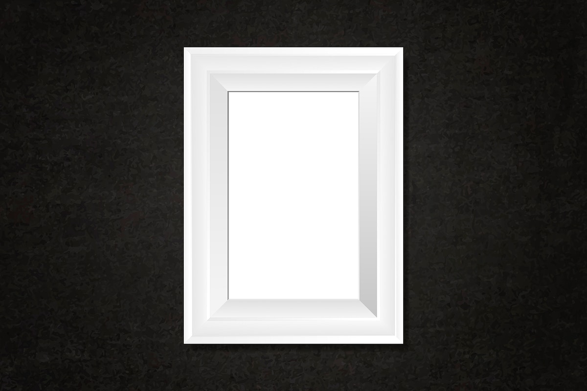 White frame mockup on a wall vector
