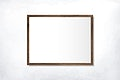 Wooden frame mockup on a wall vector