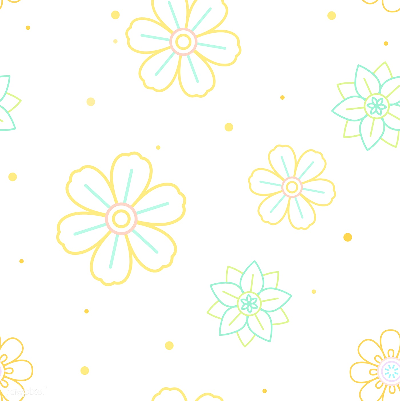 Pastel Floral Pattern Free Vector 558627