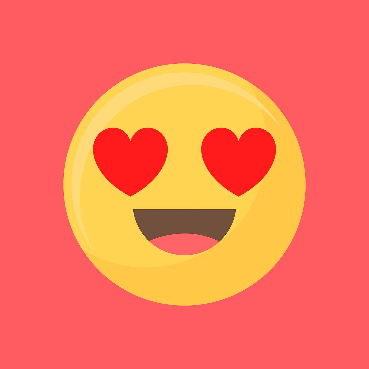 Heart-eyes face emoticon symbol illustration