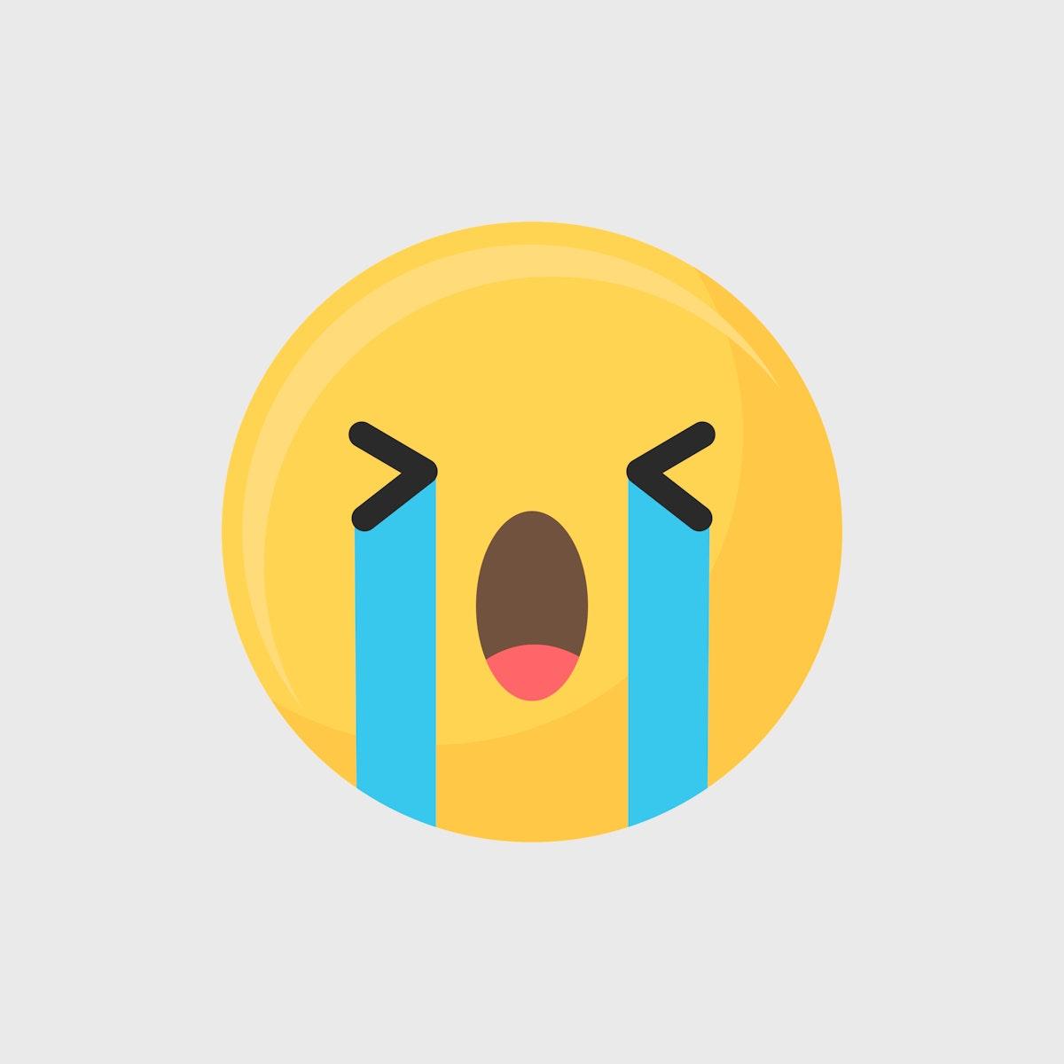 Crying face emoticon symbol vector