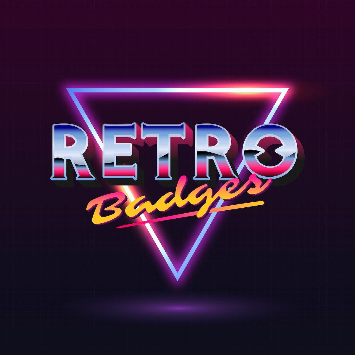 Retro neon triangle badge vector