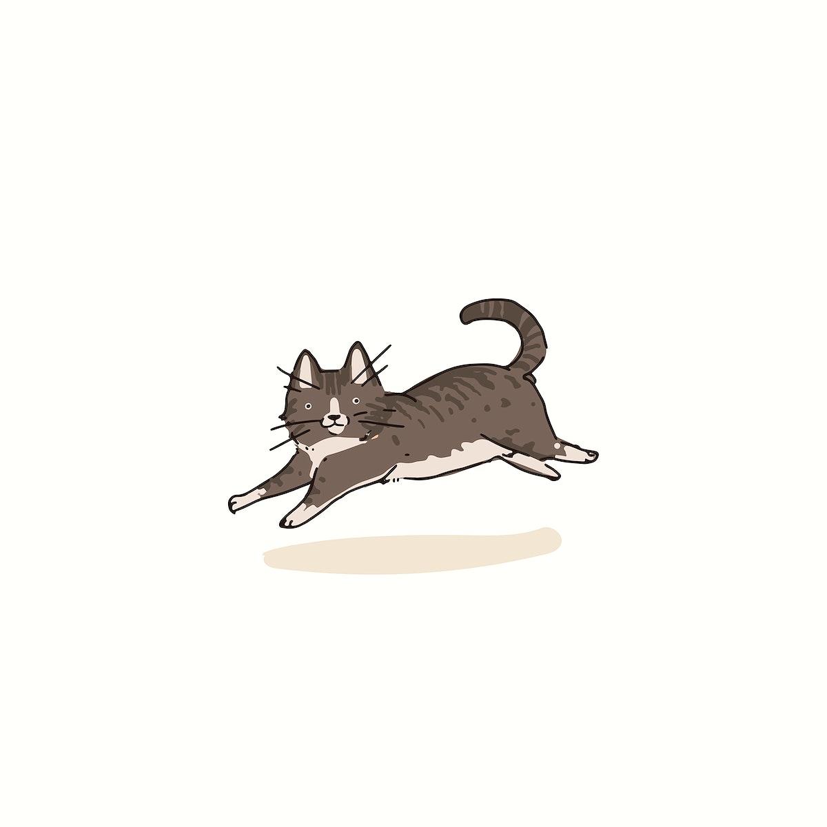 European Shorthair cat doodle element vector