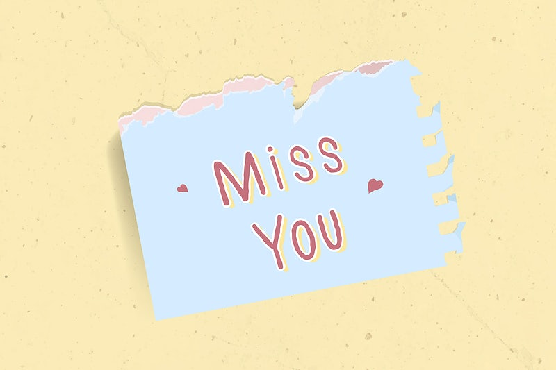 Miss you typography on a torn paper vector