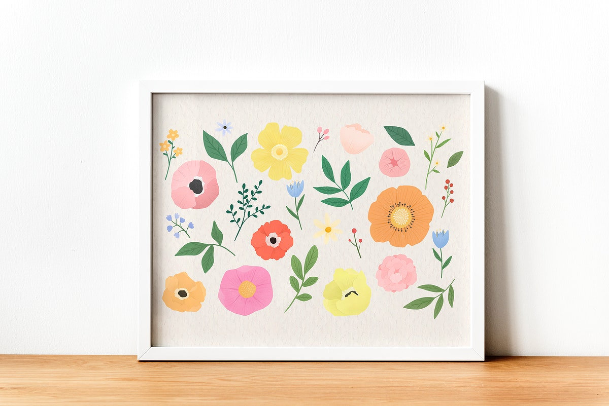 Floral collection framed against a wall
