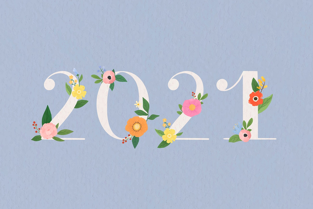 Aum Calendar 2021 Floral year 2021 typography | Royalty free vector   1015268