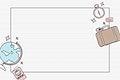 Hand drawn travel element background vector set