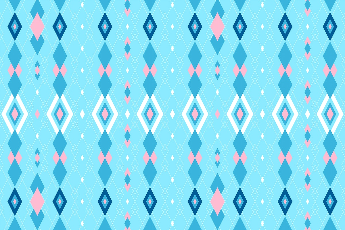Bright blue and pink seamless geometric patterned background vector
