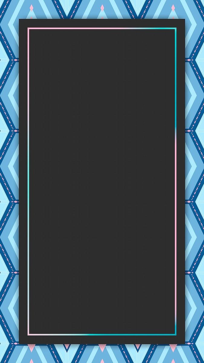 Bright blue geometric patterned mobile screen wallpaper