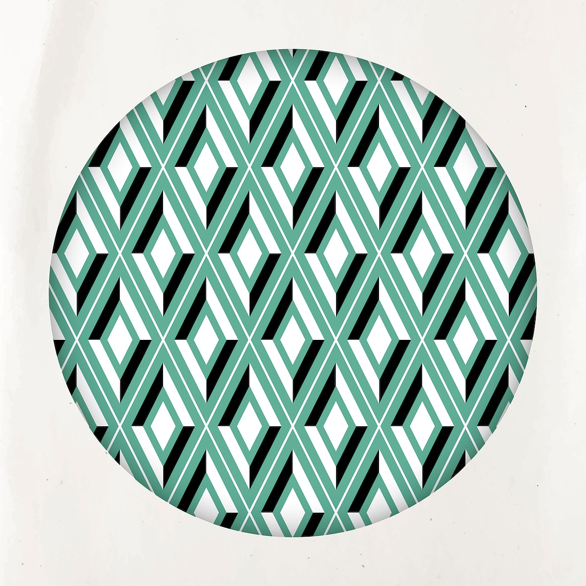 Bright green seamless geometric patterned round badge vector