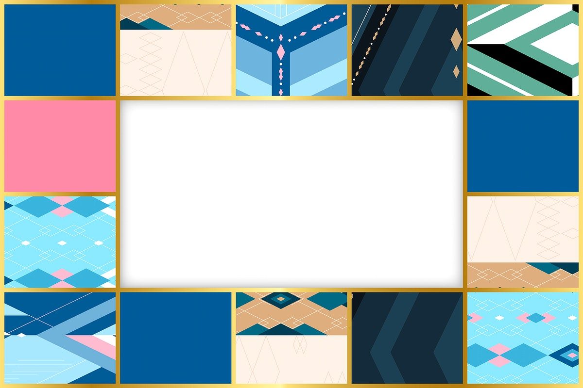 Colorful patchwork geometric patterned frame vector