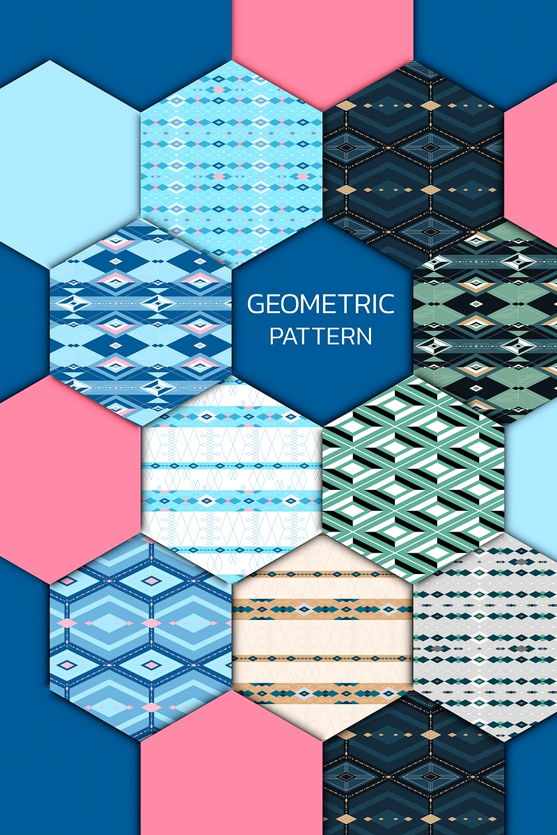 Colorful seamless geometric patterned patchwork set vector