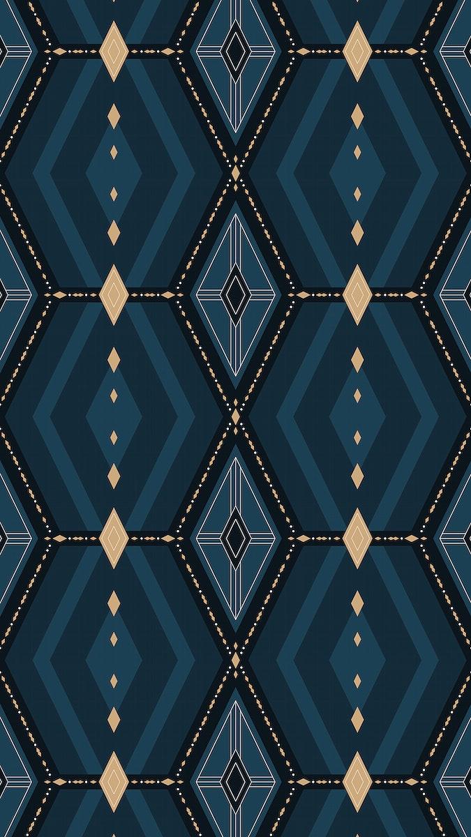 Dark blue geometric patterned mobile screen wallpaper