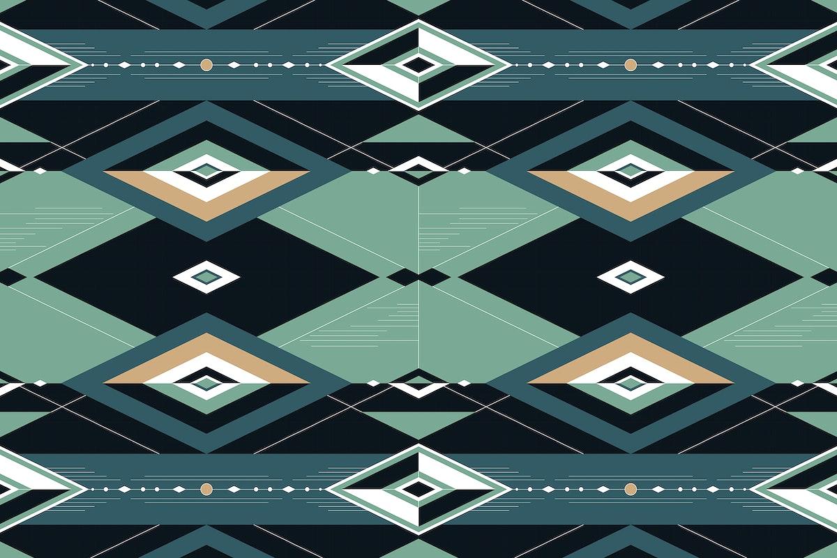 Dark green seamless geometric patterned background vector