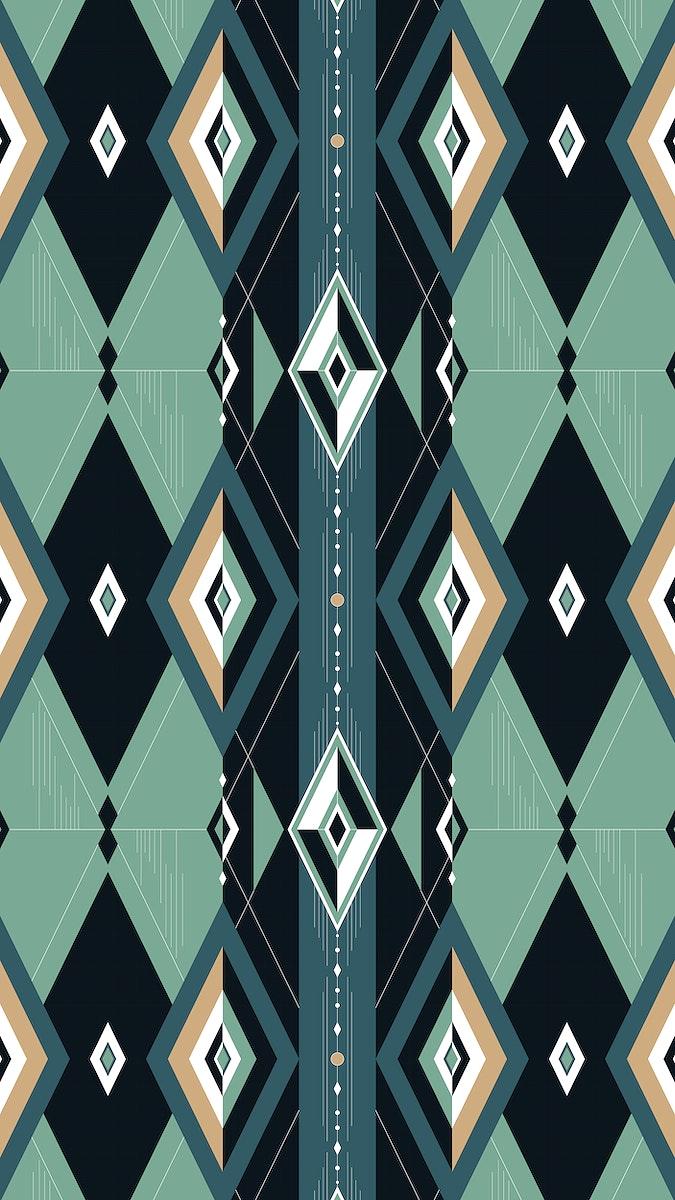 Green geometric patterned mobile screen wallpaper
