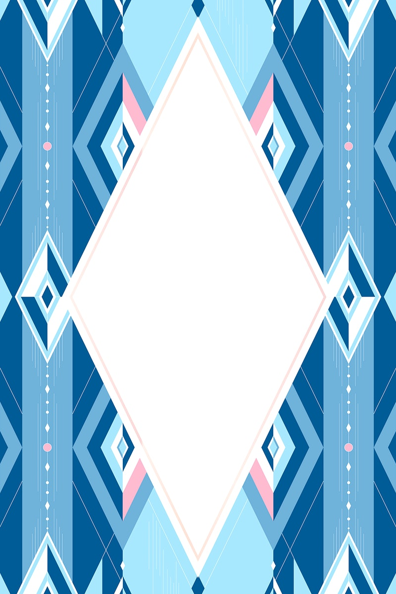 Bright blue geometric seamless patterned frame vector