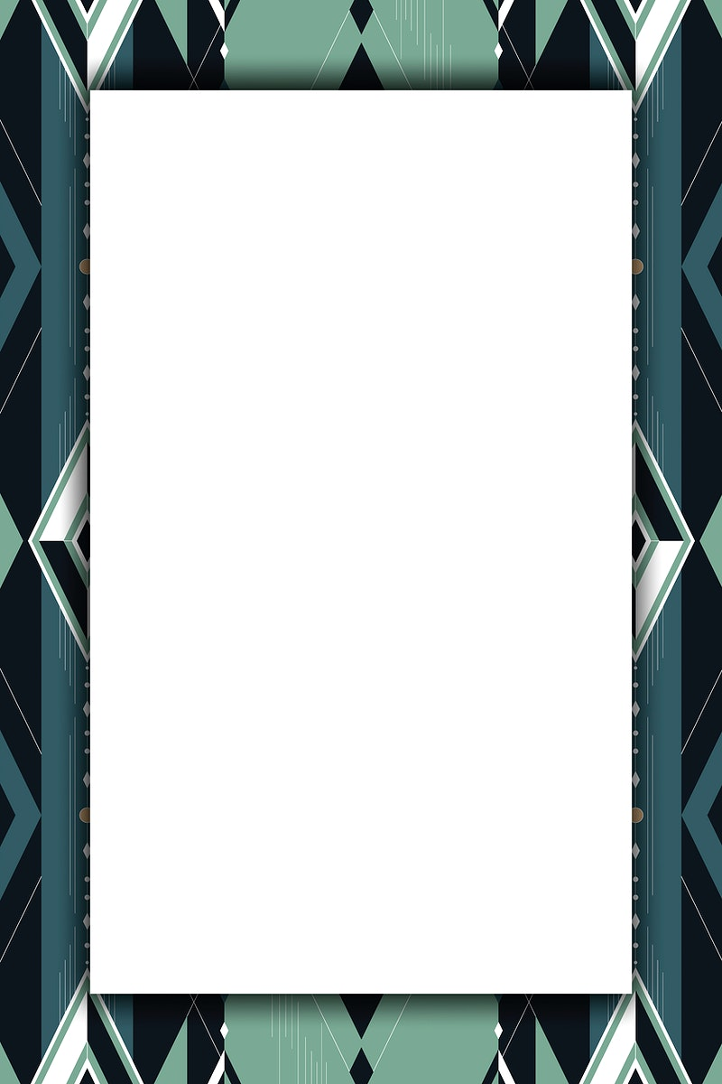 Dark green seamless geometric patterned frame vector