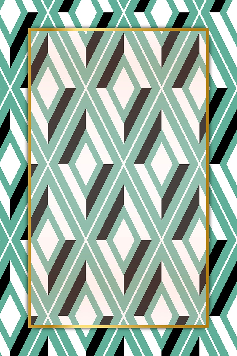Bright green seamless geometric patterned frame vector