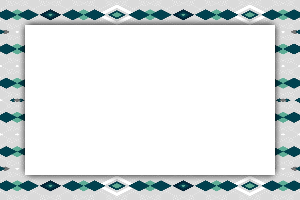 Light gray  and blue seamless geometric patterned frame vector