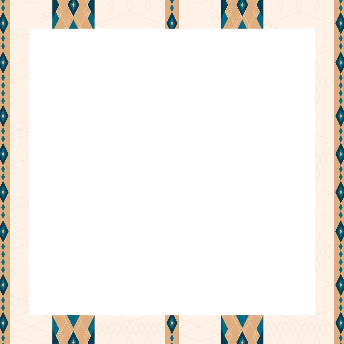 Beige seamless geometric patterned frame vector